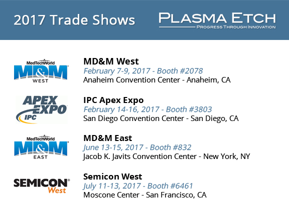 2017 Plasma Etch Trade Show Schedule